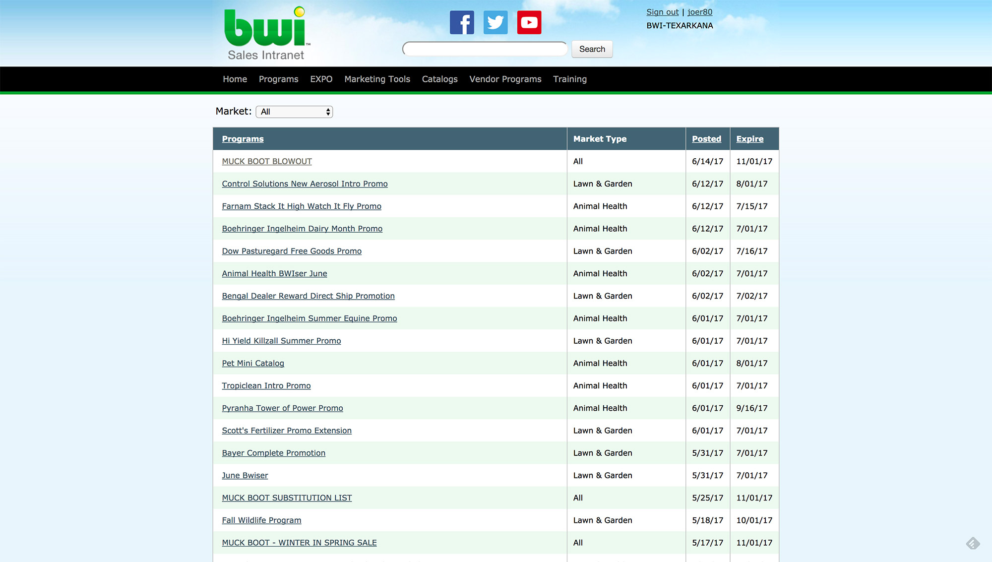 BWI Sales Intranet